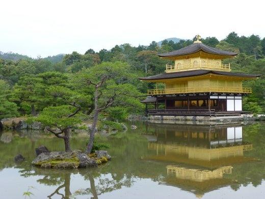 Kinkaku-ji, the Golden Pavillion in Kyoto even sparkled on a cloudy day.