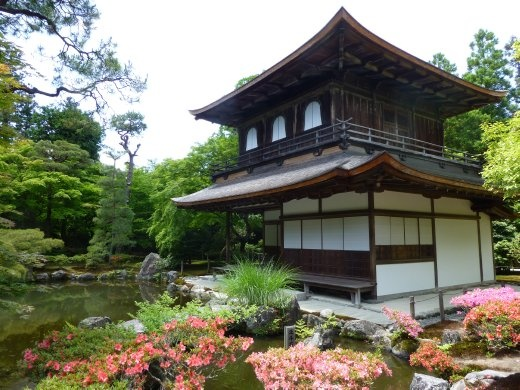 Ginkaku-ji is set in lovely grounds but packed with school kids and was 500 yen!