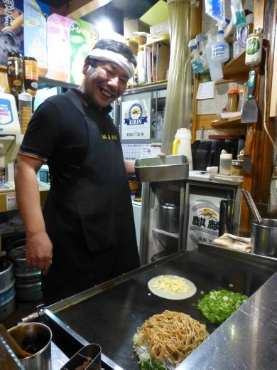 Our last night in Kyoto found us at a locals street bar where this fella made some excellen Okonomiyaki, a kind of savoury pancake and some Cheap ( well cheap for Japan) beer.