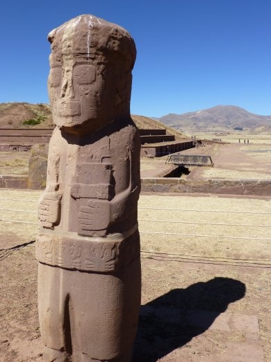 A statue at Tiwanaku.