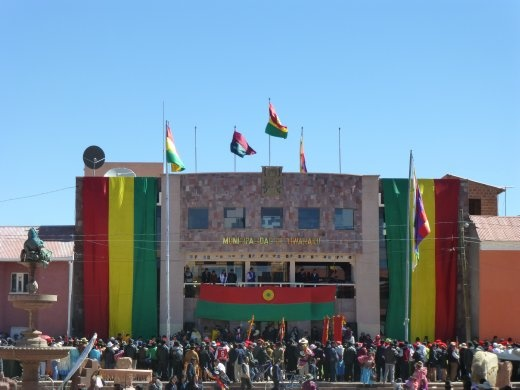Celebrating Independence Day in Tiwanaku.