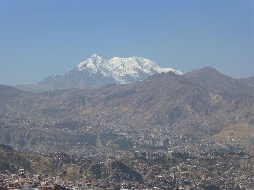 Illimani looms over La Paz.