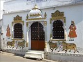 Some of the buildings are nicely decorated in Udaipur.: by steve_and_emma, Views[156]