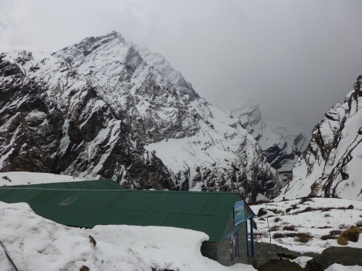 The clouds came in and a blizzard ensued as we headed up to Machhapuchhre Base camp (MBC).