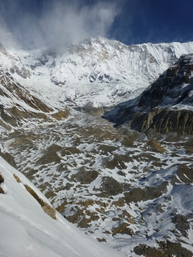 Looking up the glacier to Annapurna 1.