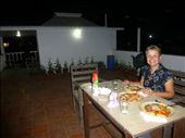 Emma enjoying a meal on our private roof-top terrac at hotel Gandhara, Puri.: by steve_and_emma, Views[239]