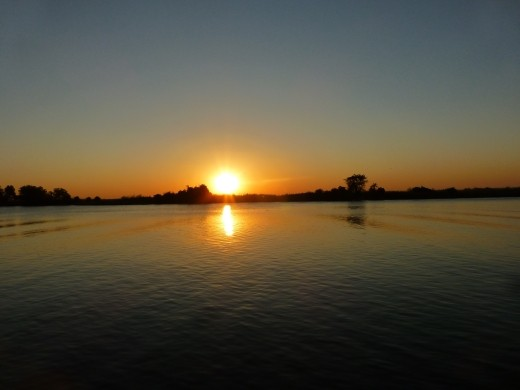 Sun set over the Chobe river.