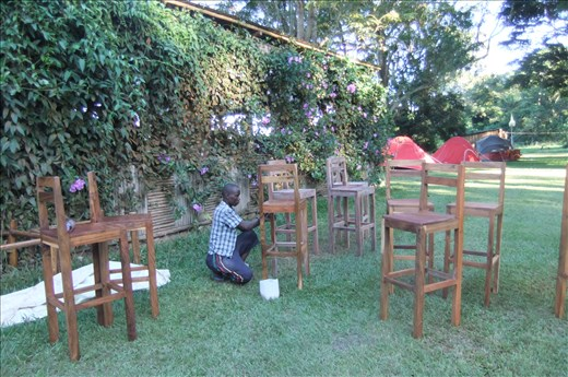 Still varnishing the chairs at 5.30 pm, it was due to start at 2 pm!