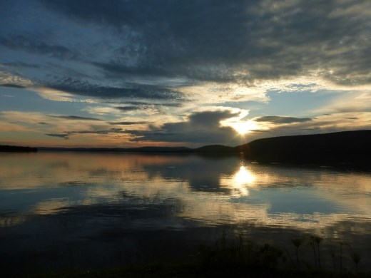 Sun set on Lake Mburu.