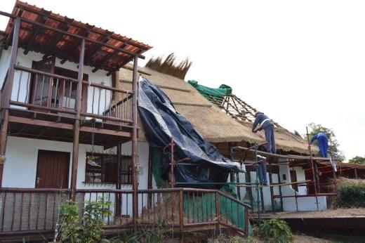 Work begins on the tea rooms roof.