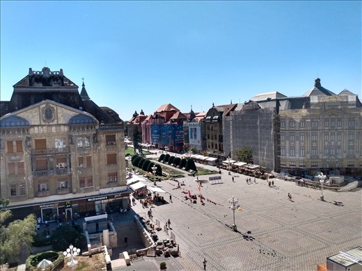 View of Piata Victoriei where the 1989 uprising began. Bullet holes in the building on the left of this picture.