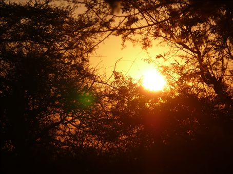 sunrise as seen from a miners camp in tete, the hottest town in moz