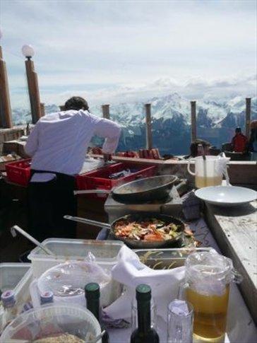 asian cooking atop a mountain