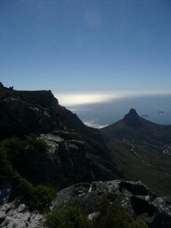 looking out over the bay from the top of table mountain