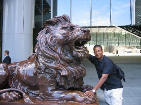 There are two lions outside of the Hong Kong Shanghai Bank building.  Touch the lion's paw for good luck!