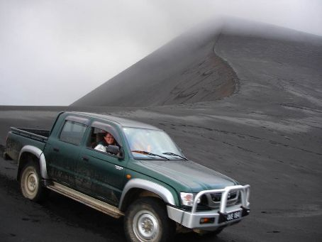 Driving on the slope of Yassur Volcano