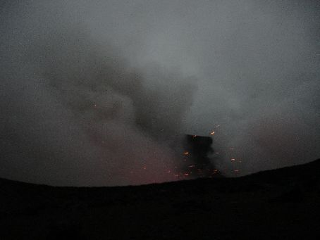 Smoke & glows from the crater
