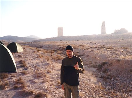 Camping in the 'Valley of the Tombs', near Palmyra, Syria.