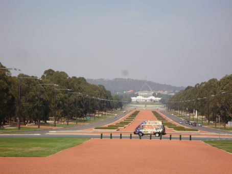 Canberra, looking down from war memorial to old & new parliament houses