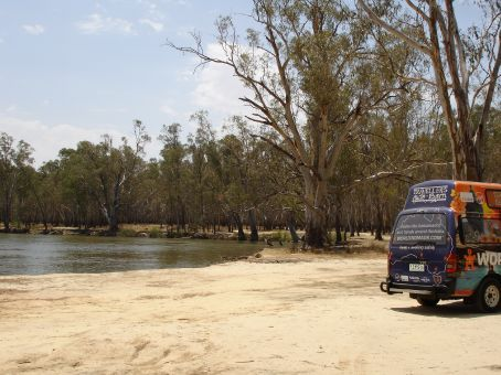 The Ambassador Van along the Murray River