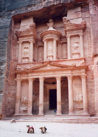 Me all alone at the Treasury (Al Khazneh), Petra (save for some camels). The inside was empty too - no holy grail here...