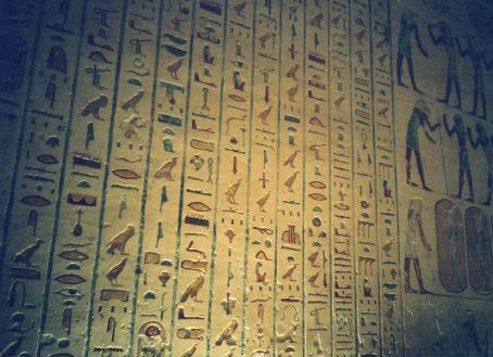Heiroglyphs inside a tomb in the valley of the kings