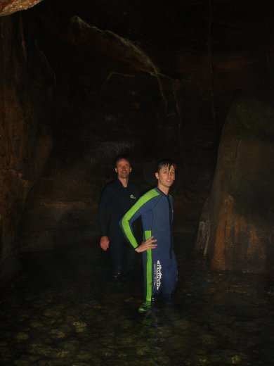 Inside Crayfish Canyon, almost pitch black at this stage