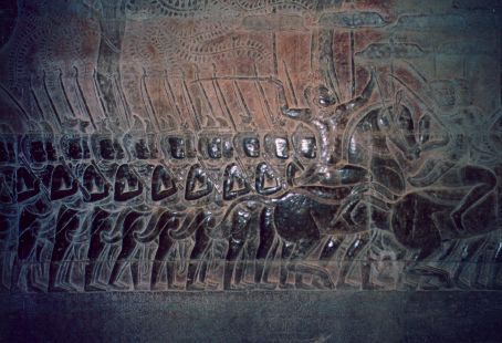 Reliefs on the outside wall of Angkor Wat depicting battle victories