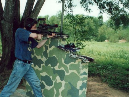 Test firing m16 at the range at Cu Chi tunnels