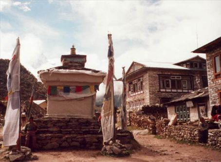 A Chorten in a Nepalese village on the trail to Mt Everest