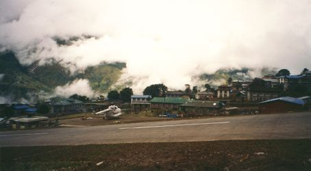 Lukla airstrip in the Himalayas. 400m long, with a steep slope, a 30ft wall up at one end and a plummeting mountainside at the other end.