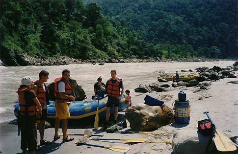 Starting rafting on the Trisuli river