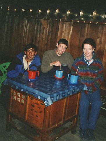 Drinking 'Tomba' in a very dark & dingy 'bar' in Lukla. I vaguely remember stumbling back to our lodge in near pitch-darkness & narrowly avoiding going over some cliffs along the way...