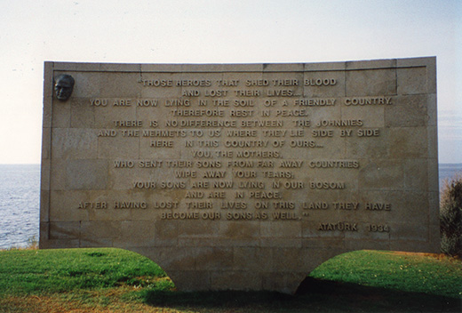 Gallipoli - Memorial at Anzac Cove by Ataturk.<br />