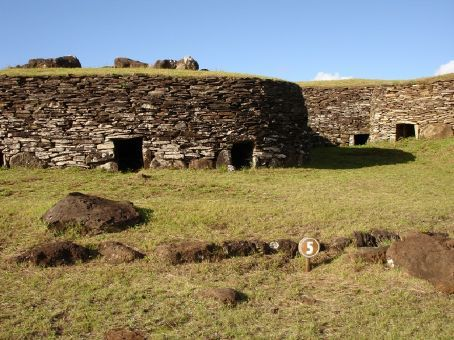 Part of the 'Birdman village', on the crater rim of the Rano Kau volcano.