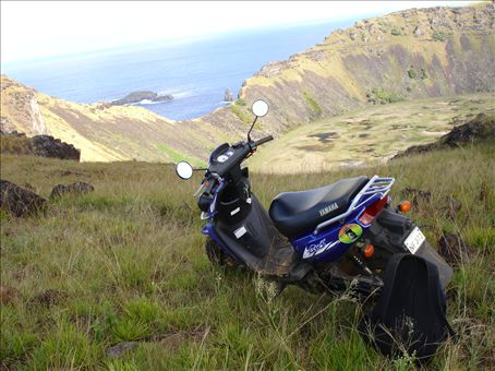 My rented motor scooter at the top of Rano Kao volcano rim (410m)