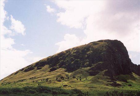 Quarry at Rano Raraku littered with semi-finished Moai.