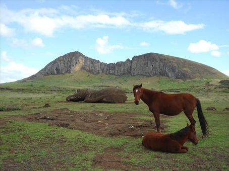 Rano Raraku volcano, where the main Moai quarry is.