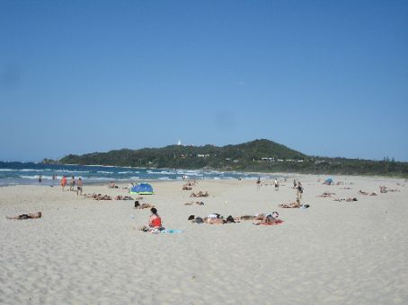 Beach @ Byron Bay with the lighthouse in the background