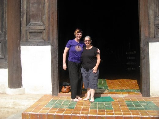 Gorgeous friend Gayle & I on the steps of another spectacular Wat