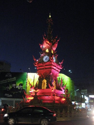 Musical lightshow in the Clocktower in central Chiang Rai