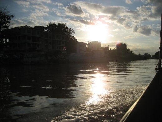 Sun setting over the Chao Praya River