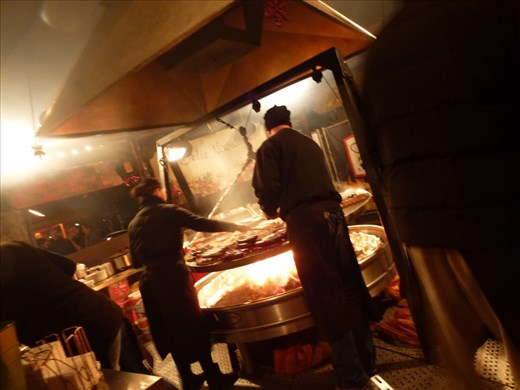 The man's big fat German sausage dream comes true. That's quite a barbecue!