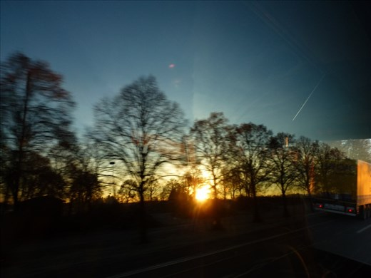 Sunrise along the highway from Munich to Salzburg