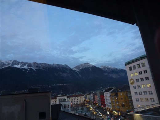 The view from our hotel room in Innsbruck. Surrounded by snow capped mountains. Breathtaking.