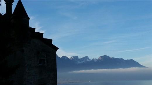 Misty Lake Geneva from Chateau de Chillon
