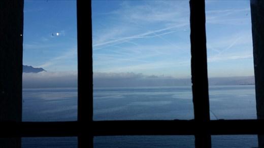 Lake Geneva through a window