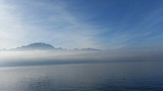 Lake Geneva from Montreux. The mist makes it more beautiful