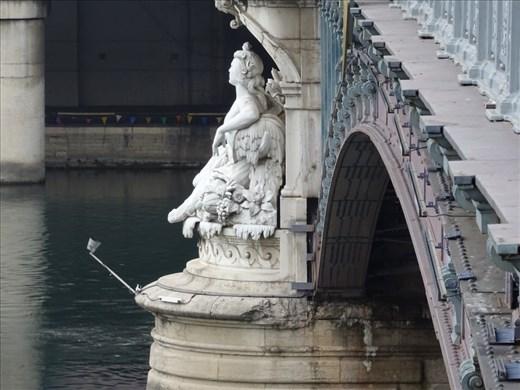 Statue guarding the bridge, Rhone River, Lyon