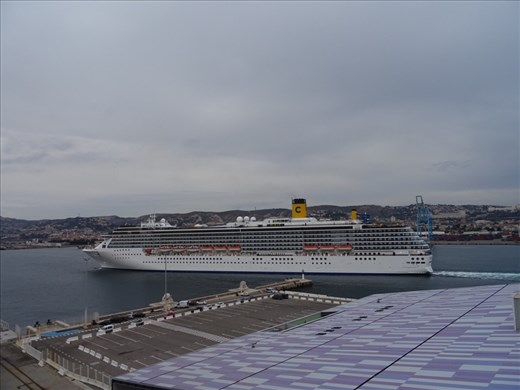 Costa Meditteranea heading out of Marseilles before us